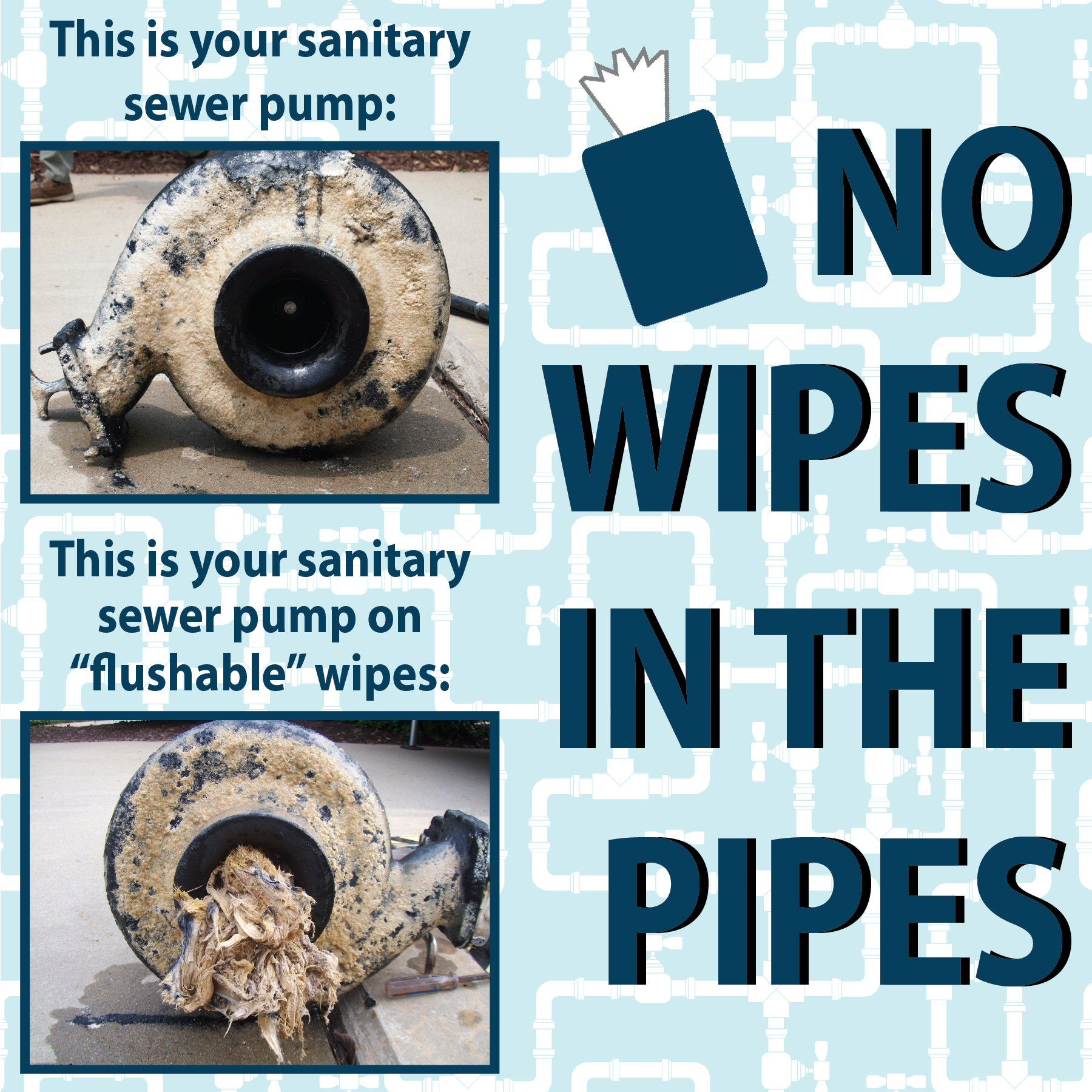 Pipes Clogged with Flushable Wipes